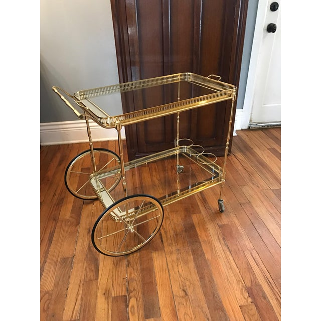 Vintage Brass & Glass Bar Cart - Image 2 of 8
