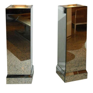 Beautiful French Art Deco Mirrored Pedestals Lights - A Pair Circa 1940s