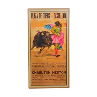 Charlton Heston 1960s Spanish Bullfight Poster