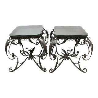 Iron Bent Floral Side Tables - A Pair