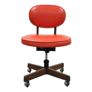 Vintage Mid-Century Modern Walnut Red Vinyl Adjustable Desk Chair