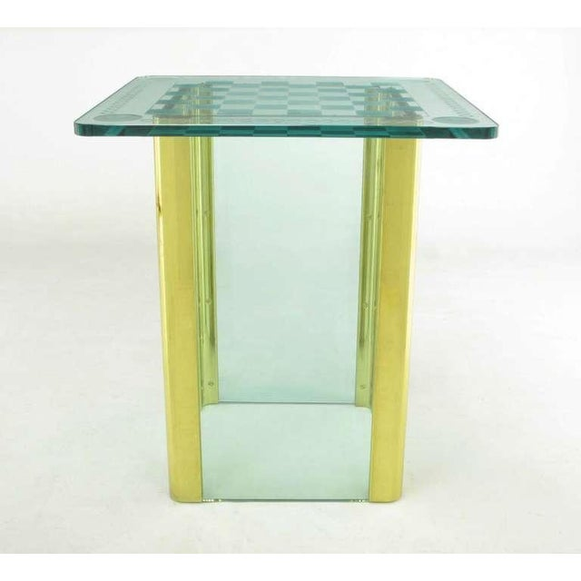 Image of Elegant Etched Glass Game Table In The Style Of Pace Collection