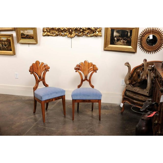 Pair of Austrian Biedermeier Fan Back Chairs with Light Blue Upholstery, 1840 - Image 3 of 10