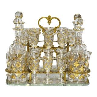 19th Century Bronze & Glass Cave À Liqueurs - 20 Pieces
