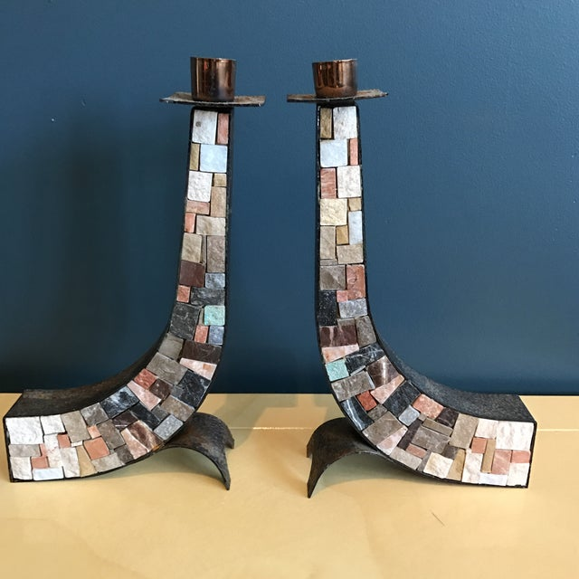 Stone & Copper Mosaic Shabbat Candlesticks - A Pair - Image 3 of 6
