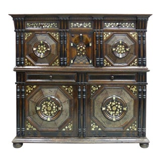 Restoration Charles II English Cabinet circa 1660-1685, Mother-of-Pearl Inlays
