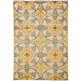 "New Suzani Hand Knotted Area Rug - 4'1"" x 6'1"""