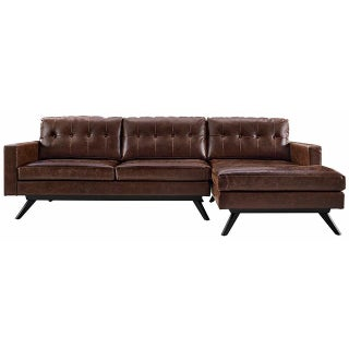 Two Piece Antiqued Leather Sectional Sofa