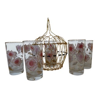 50's Libbey Pink Rose Glasses & French Basket - Set of 6