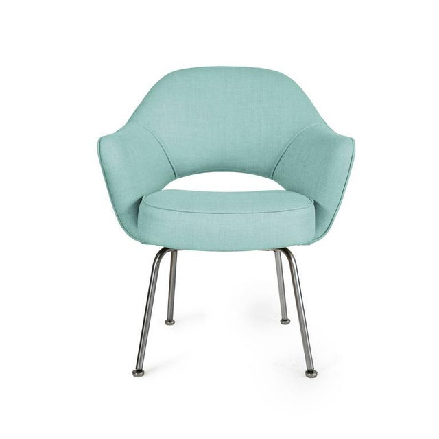 Image of Saarinen Executive Armchairs in Powder Blue Woven-Microfiber, Set of Six