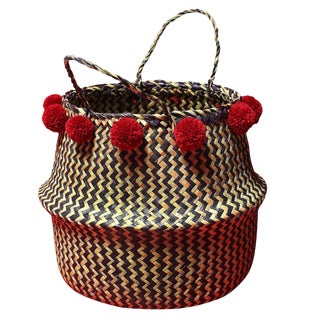 Borneo Handwoven Zig-Zag Belly Basket With Cranberry Pom-Poms