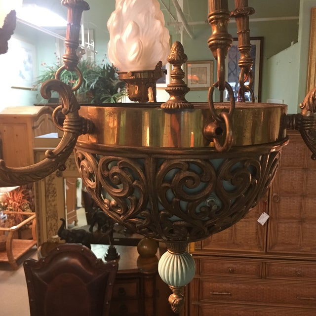 Antique Bronze French Art Deco Chandelier With Lalique Style Globes - Image 3 of 10