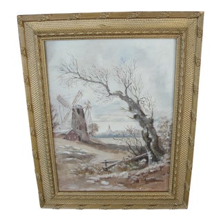Antique Windmill Landscape Oil on Board Painting