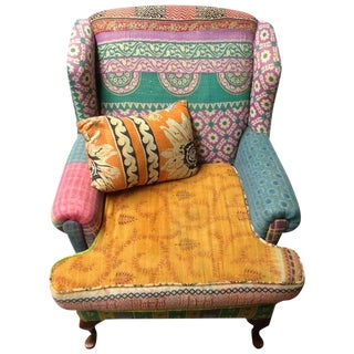 Boho Chic Multi-Color Upholstered Wingback Chair
