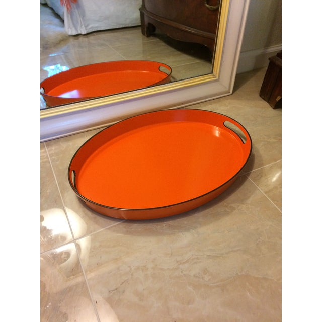 Orange Lacquer Oval Hermès Inspired Serving Tray - Image 10 of 11