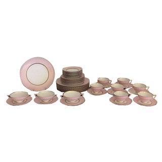 Royal Tettau Bavaria Pink & Gold China Dinnerware - Set of 45