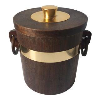 Mid-Century Walnut Veneer & Brass Ice Bucket