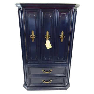 Vintage Traditional Navy Lacquered Armoire Dresser