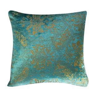 Venetian Velvet Turquoise Pillow