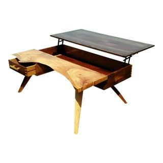 Oak Slab & Walnut Lift Top Table