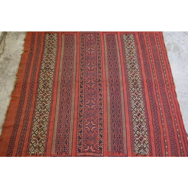 "Vintage Turkish Aztec Print Rug - 5'1"" x 5'3"" - Image 4 of 8"