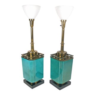 Jade Blue Ceramic Stiffel Lamps
