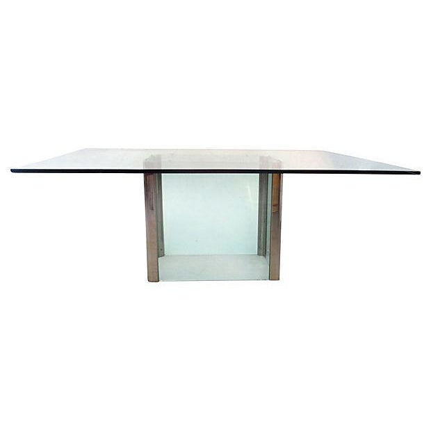 Image of Mid-Century Pace Chrome & Glass Dining Table