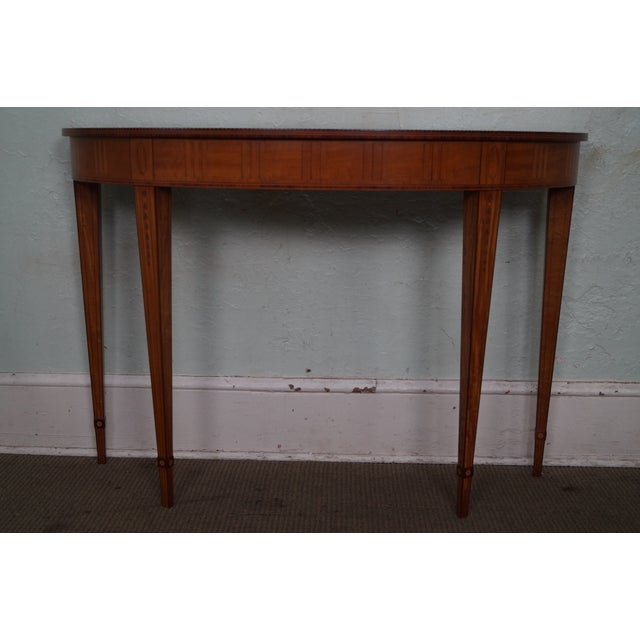 Kindel Irish Georgian Collection Inlaid Demilune Console Table - Image 2 of 10