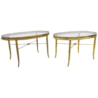 Mastercraft Mid-Century Brass & Glass Side Tables - S/2