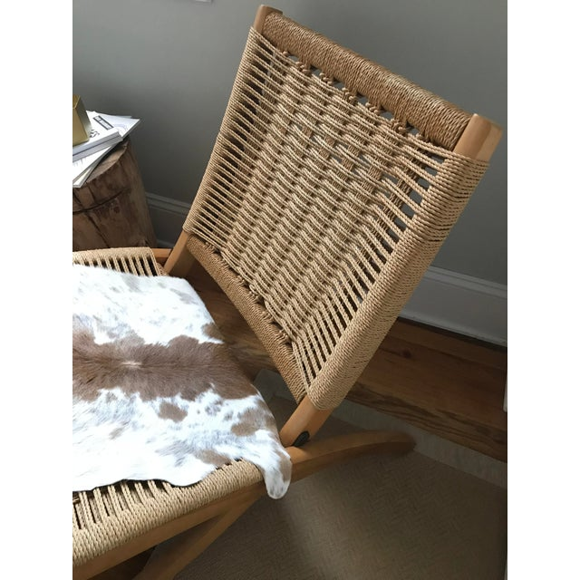 Hans Wegner Style Rope Lounge Chair & Ottoman - A Pair - Image 5 of 9