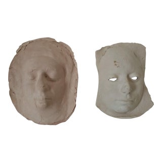 Vintage 1970's Pottery Face Masks - A Pair