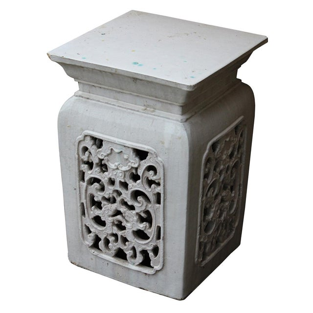 Chinese Off White Ceramic Square Dragon Garden Stool - Image 3 of 7