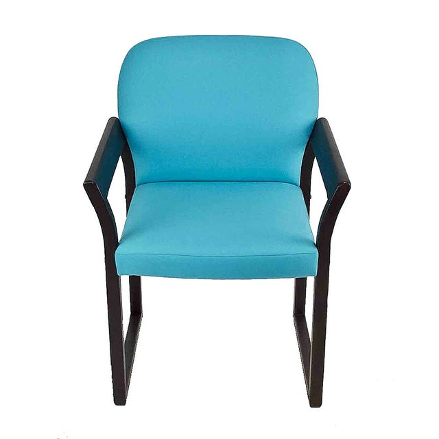 Image of Blue Linen Mid-Century Arm Chairs - A Pair