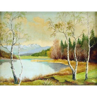 Lakeside & Birch Trees Painting