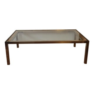 Vintage Brass & Rattan Coffee Table
