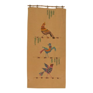 Vintage Hand Embroidered Crewel Peacock & Birds Wall Hanging
