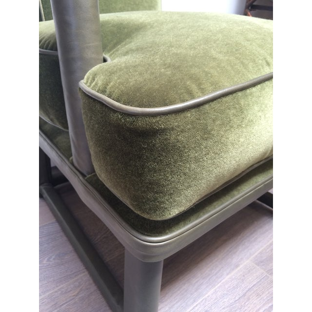 Green Leather & Mohair Lounge Chair - Image 9 of 10