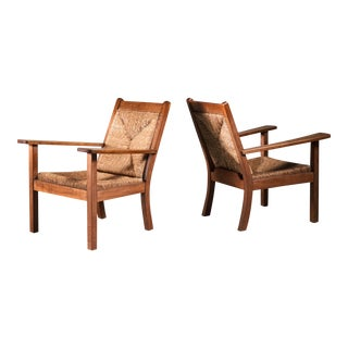 Pair of Willi Ohler Chairs in Oak and Original Rush, Germany, 1920s