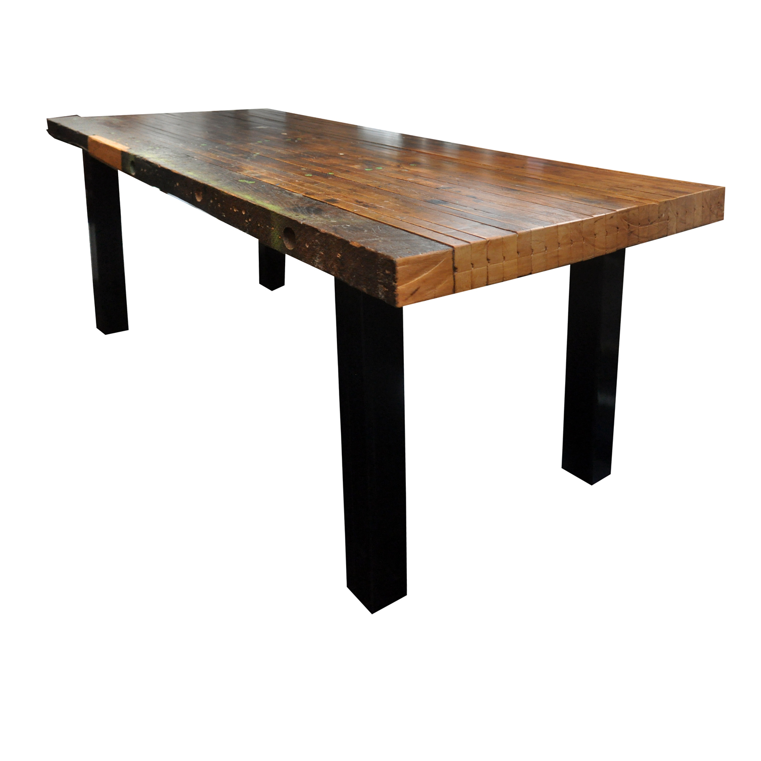 reclaimed butcher block dining table chairish
