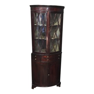 18th Century Corner Cabinet With Diamond Cut Glass
