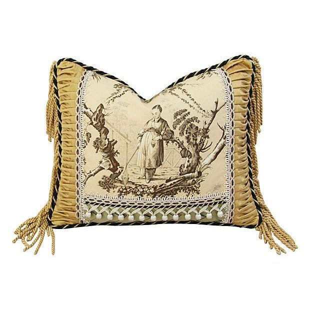 Custom Brunschwig & Fils Toile Boudoir Pillow - Image 1 of 6