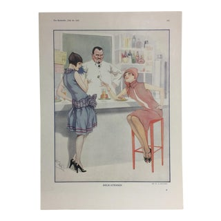 1927 French Print of Flappers by W. S. Hutton