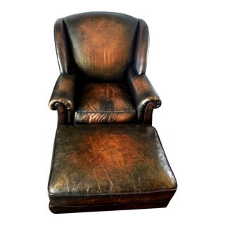Leather Wing Lounge Chair and Ottoman