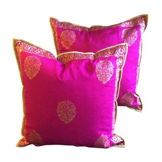 Silk Magenta & Gold Block Print Pillows - A Pair