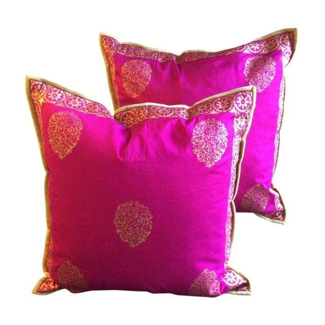 Silk Magenta & Gold Block Print Pillows - A Pair - Image 1 of 5