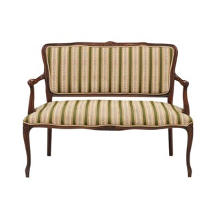 French Provencal Style Striped Settee