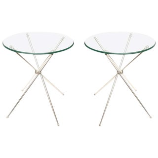 Pair of Elegant Tripod Folding Silver-Plate Side/Drink Tables