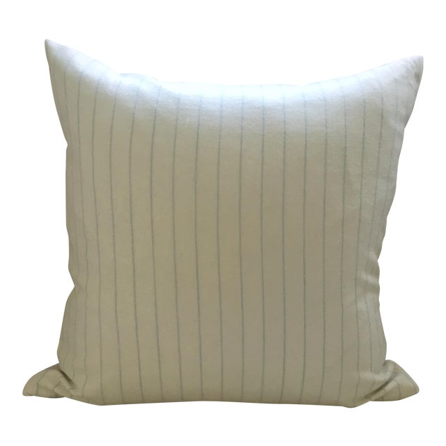 Holland & Sherry Ivory With Pale Blue Pinstripe Wool Pillow Cover - Image 1 of 8