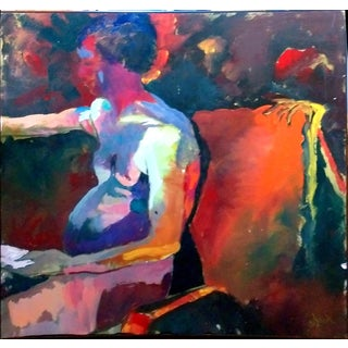 """The Guest"" Abstract Seated Nude Acrylic Painting by L.A. Fallis"