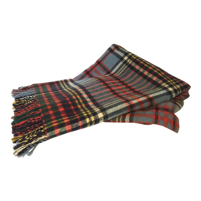 Vintage English Plaid Wool Blanket - Image 1 of 7